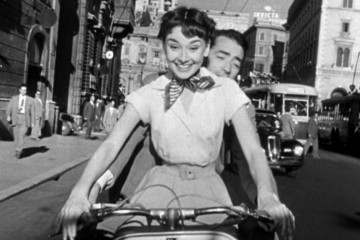 Audrey Hepburn and Gregory Peck in famous movie Roman Holiday