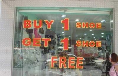 Buy 1 shoe, get one shoe FREE