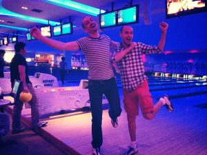 Manly bowling with Niall.
