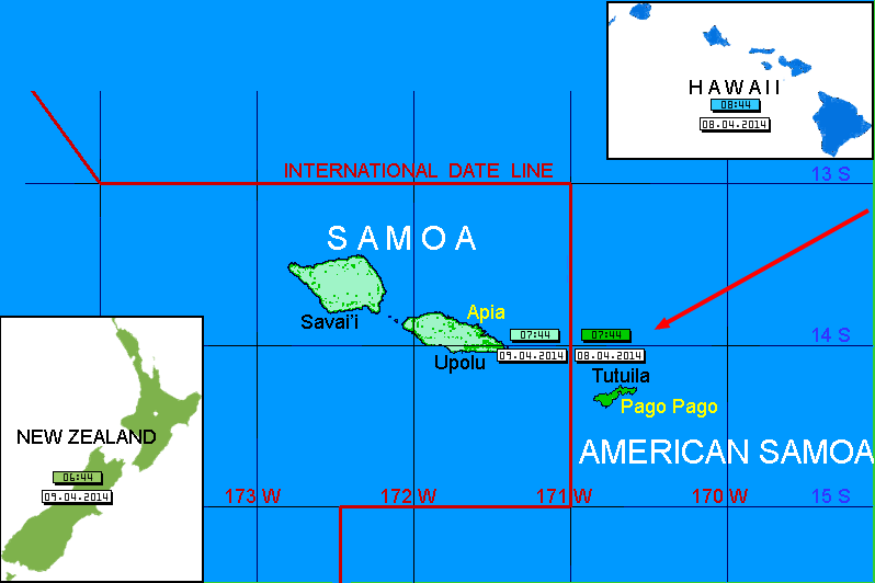 samoa and american samoa time zones map