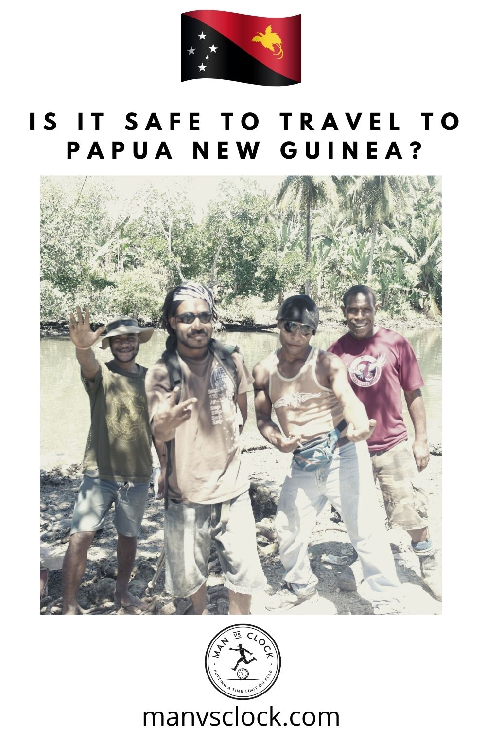 4 men pose for the camera in papua new guinea