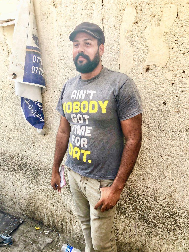 Iraqi man wearing 'ain't nobody got time for dat' t-shirt