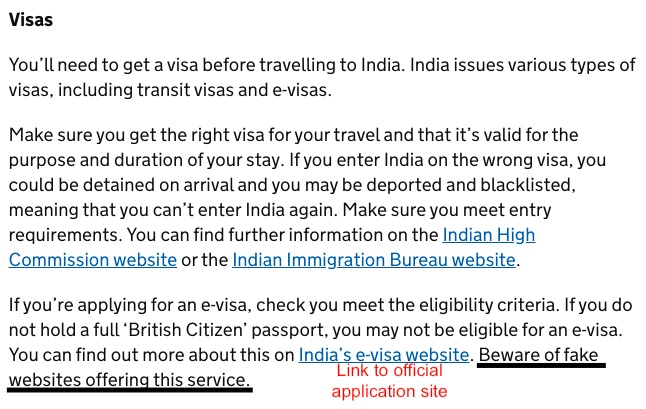 Foreign travel advice for Brits on Gov.UK will usually link to bonafide visa application websites