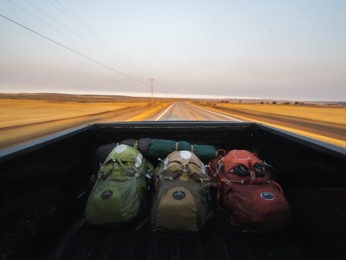 Backpacks in a van