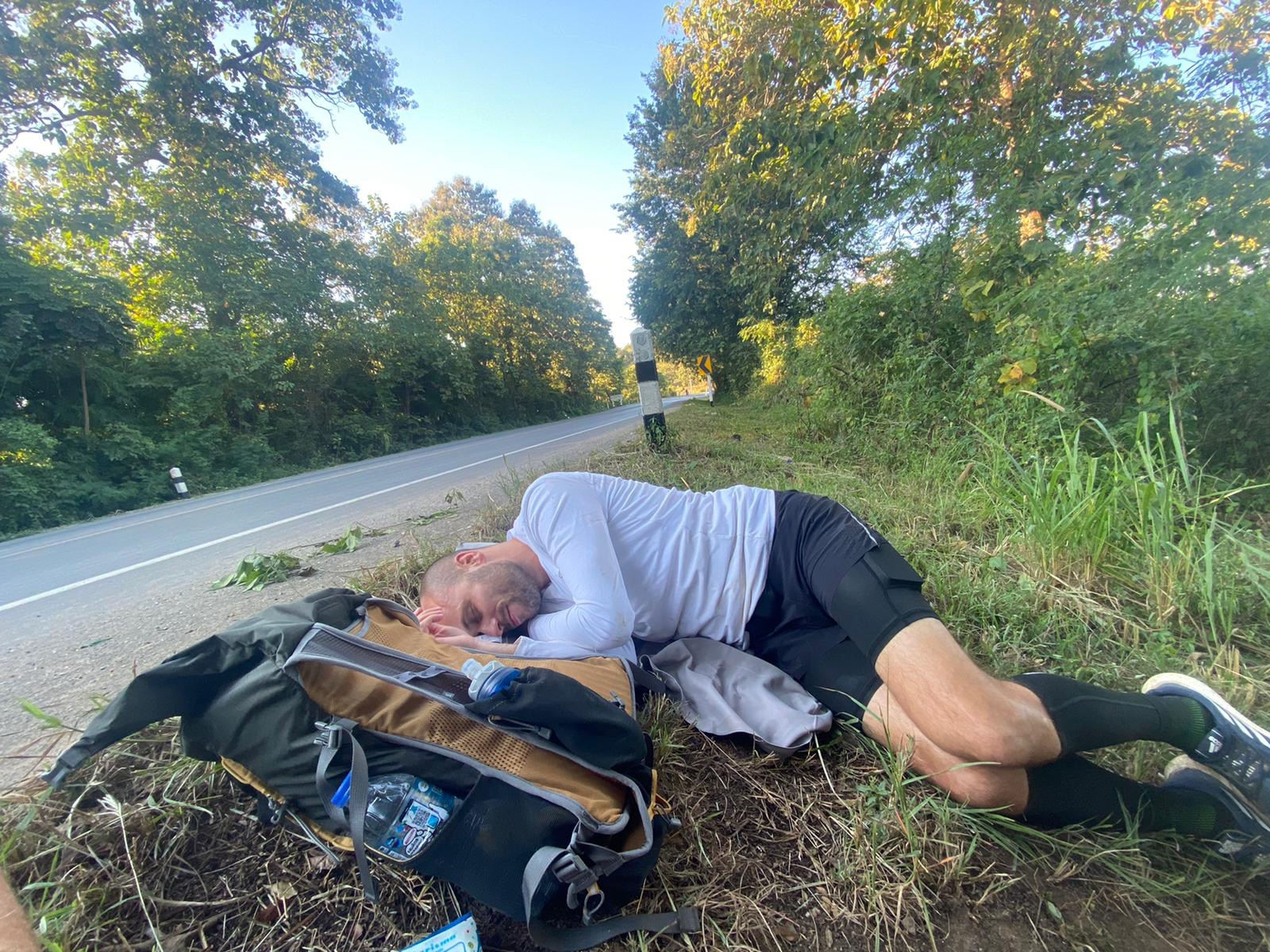 Sleeping by the road