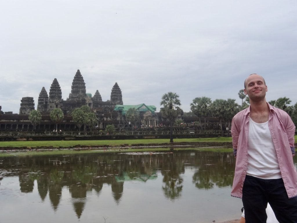 male tourist at Angkor War