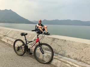Man with bicycle in Hong Kong's New Territories